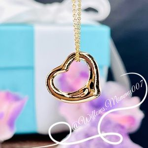 Tiffany & Co. Elsa Peretti 16mm Open Heart Pendant in 18k Yellow Gold